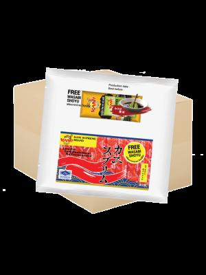 ปูอัดคานิสุพรีม250กรัม. (ฟรี โซยุ+วาซาบิ ) ( 1 กล่อง )